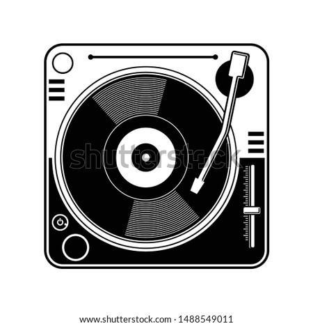 Flat illustration vector retro vinyl turntable dj