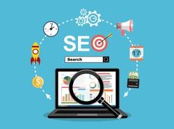 Flat illustration web analytics design , SEO optimization.