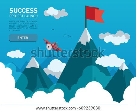 flat illustration with a flag