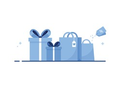 Flat illustration with paper shopping bag and gift with ribbon and bow. E-Shopping. Presents for event, celebration, holiday. Surprise for birthday, new year, christmas, xmas. Blue. Eps 10