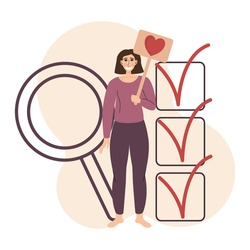Flat illustration with quality rating. Concept of evaluating the work and receiving feedback. Girl holds a sign with a heart. In the background magnifying glass and a completed list with checkboxes