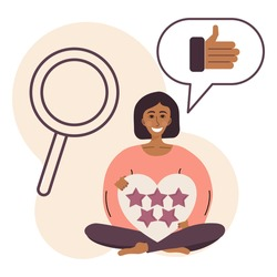 Flat illustration with quality rating. The concept of evaluating work and receiving feedback. A girl holds a heart with stars. In the background is a magnifying glass and a fist like in a bubble.