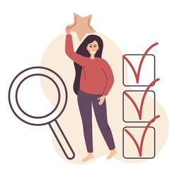 Flat illustration with quality rating. The concept of evaluating work and receiving feedback. The girl smiles, and holds the star. Background is a magnifying glass filled with a list with checkboxes.
