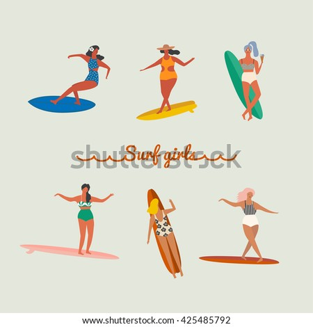 flat illustration with surfer