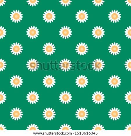 Flat illustrations. Flat vector illustration. Vector flat. Illustration flat. Illustration. Vector illustration. Chamomile flower pattern. Pattern chamomile. Chamomile pattern. Repeat daisy