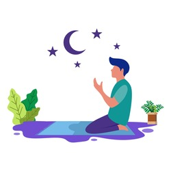 flat illustrations of people praying, for website design, blogs and other graphic designs