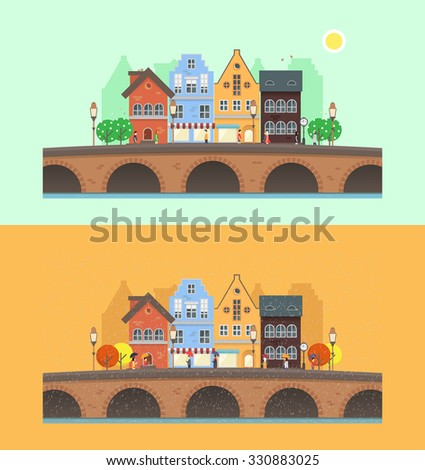 Flat illustrations with spring and autumn season. Vector urban landscape with cityscape elements: house, shops, trees, bridge and people.  Perfect template for web or any designs.
