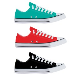 Flat image of sneakers. Sneakers are red , black, turquoise. Simple sneakers in different colors