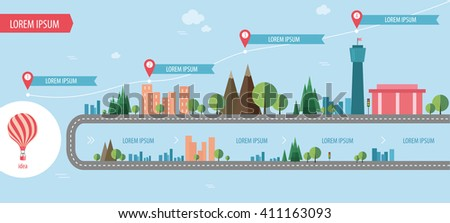 flat info-graphics strategy, travel, town,Balloon, information