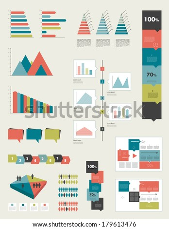 Flat infographic collection of charts graphs speech bubbles schemes diagrams Trend color set Rectangle design