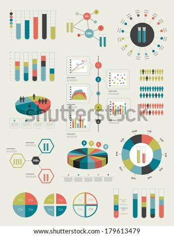Flat infographic collection of charts graphs speech bubbles schemes diagrams Trend color set Chemistry flask concept