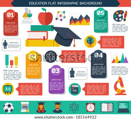 Flat infographic education background Colorful template for you design web and mobile applications