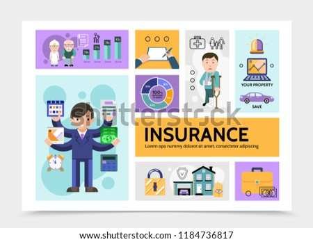 Flat Insurance Service Infographic Template