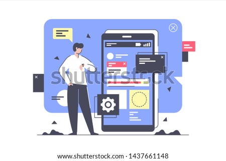 Flat isolated businessman develop and creating new application. Concept man character with mobile phone project deadline for business. Vector illustration.