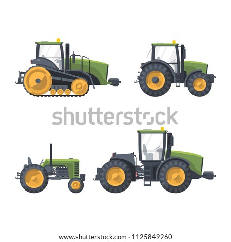 Flat isolated green tractors set