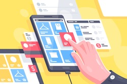 Flat isolated hand with online mobile interface do shopping. Concept smart buying from cell phone at internet, web service for market. Vector illustration.