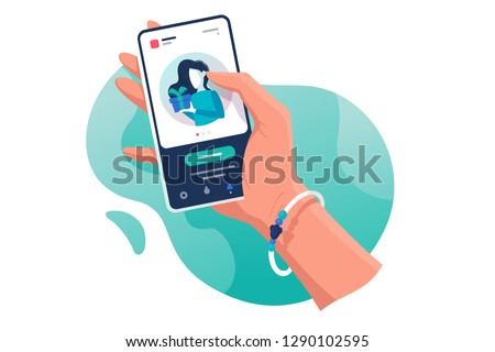 Flat isolated hand with phone with contacts woman with gift. Concept electronic mobile device, communication. Vector illustration.