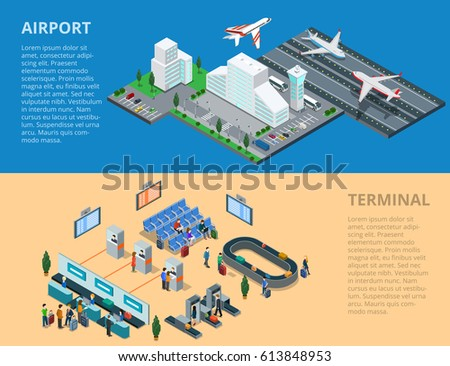 Flat isometric airport, flying and landing planes; terminal waiting hall, passport control, baggage line conveyor infographics template vector illustration. 3d isometry Public transportation concept.