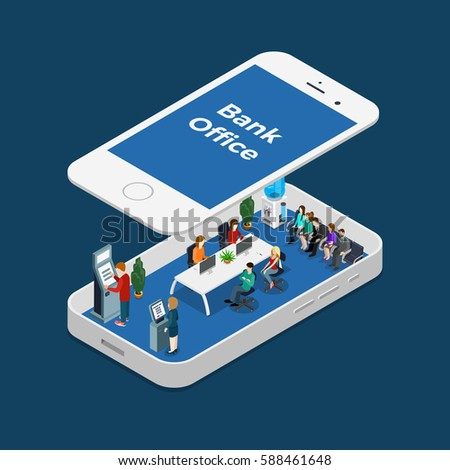 Flat isometric Bank Office interior with managers and clients inside smartphone, under screen panel vector illustration. 3d isometry Online Banking business concept