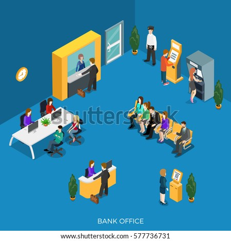 Flat isometric bank office with reception, cashdesk vector illustration. ATM, Registration and payment terminal, workers, clients and security characters. 3d isometry creative Banking concept.