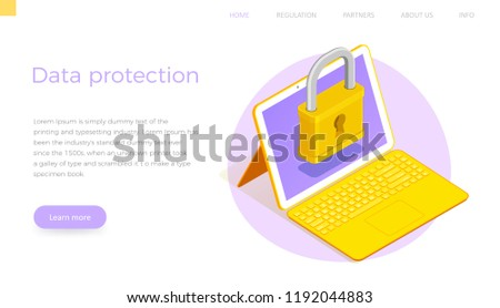 Flat Isometric big lock on screen laptop transformer tablet. Data protection landing page template. Vector concept banner.