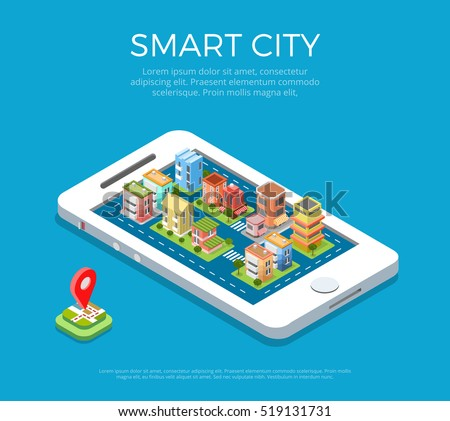 Flat isometric buildings on smartphone screen, Smart city app infographics template vector illustration. 3d isometry Mobile application concept.