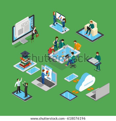 Flat isometric businesspeople brainstorming on tablet screen, working on laptop, meeting on smartphone, climbing monitor vector illustration set. 3d isometry business technologies concept.