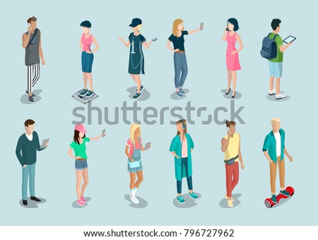 Flat isometric casual fashion stylish young people hipster characters vector icon set. 3d isometry concept. Young male and female, girl, guy, student with devises in modern youth trendy clothes