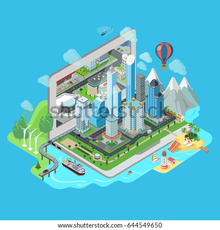 flat isometric city and nature