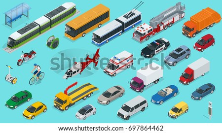 Flat isometric city transport icon set. Taxi, Ambulance, trolleybus, Police, safari travel, Bicycle, Mini, Subway train, Fire-truck, cargo-truck, bus, Electric car, scooter, Sedan