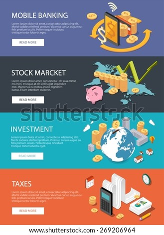 Flat isometric concept for finance, stock market, consulting, investing, crowdfunding, taxes, m-banking, bookkeeping. Can be used for infographics, web design, diagram, banners, promotional materials.