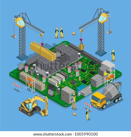 Flat isometric construction industrial building or printed circuit board vector objects illustration set. 3d isometry construction crane builds electronic, components, special machinery, workers