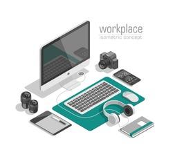 Flat isometric 3d technology designer workspace concept vector. Laptop, smart phone, camera, tablet, player, desktop computer, headphones, devices set.