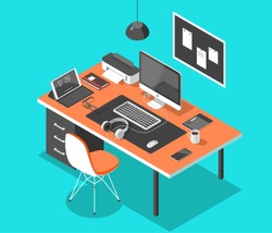 Flat isometric 3d technology workspace concept vector. Laptop, smart phone, tablet, player, desktop computer, headphones, devices set.