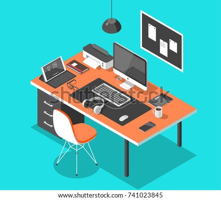 Flat isometric 3d technology workspace concept vector. Laptop, smart phone, tablet, player, desktop computer, headphones, devices set.