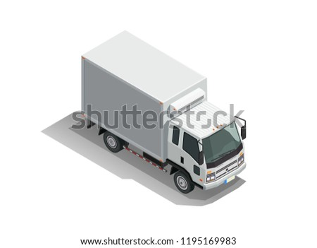 Flat isometric delivery car. Commercial cargo truck isolated vector illustration.