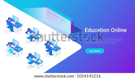 Flat Isometric Education Online vector design concept. Group People sitting learning working with Computer in front of the Screen.