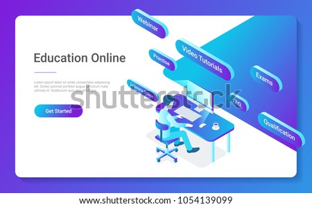 Flat Isometric Education Online vector design concept. Man sitting learning working with Computer.