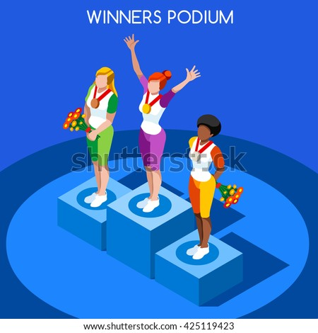 flat isometric female winner