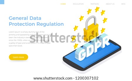 Flat Isometric GDPR – General Data Protection Regulation landing page template. Big lock on screen smartphone horizontal banner.
