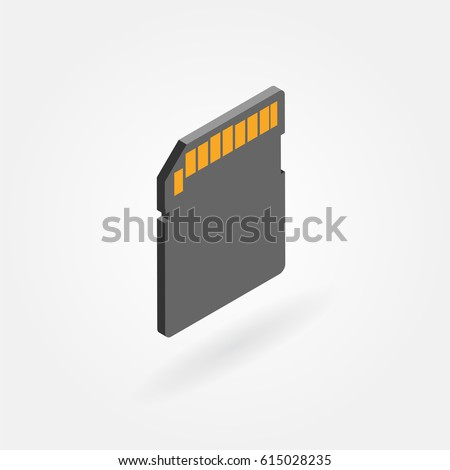 Flat isometric icon of sd memory card.