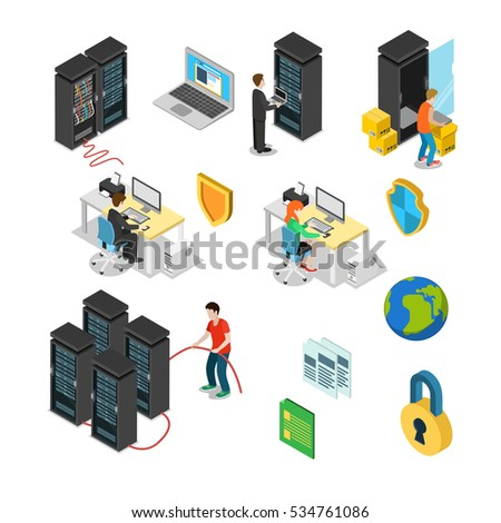 Flat isometric icons set of server hardware, data security, technical specialists, equipment vector illustration, system administrator, program analyst. 3d isometry Datacenter concept.
