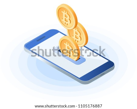 Flat isometric illustration of bitcoins droping into slot at the mobile phone. The depositing money into an account, e-commerce, blockchain, cryptocurrency, online business vector concept illustration
