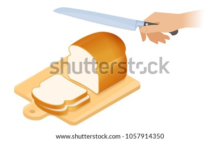 Flat isometric illustration of cutting board, a loaf of white bread, kitchen knife. Sliced pieces of bread on a wooden board, hand with bread knife cuts a loaf. The cookery, cutlery vector concept.