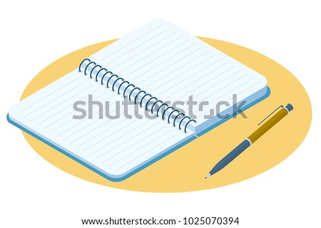 Flat isometric illustration of opened notebook. Office and school vector concept: paper notepad with a pen. Business and education workplace paperwork elements isolated on white background.