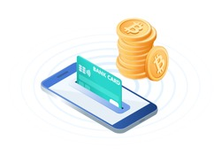 Flat isometric illustration of pile of bitcoins, the phone with a credit card in the slot. The transfer, e-commerce, blockchain, online business, deposit money into an account vector concept.