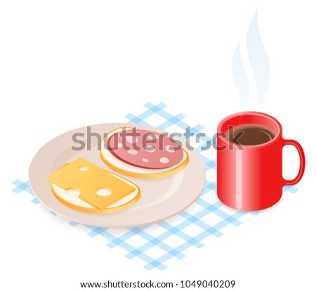 Flat isometric illustration of plate with cheese and sausage sandwiches. The dish with bread pieces and sausage and cheese slices, a mug of hot coffee. A food, breakfast, office break vector concept.