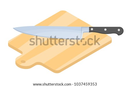 Flat isometric illustration of wooden cutting board and kitchen knife. Household cutlery isolated on white background. Cooking domestic kitchenware, utensils vector concept: bamboo plank, steel knife.