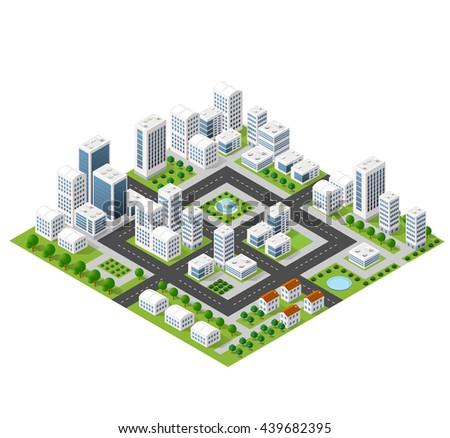 Flat isometric map, landscape city, building skyscraper,  parks, cafe, landmarks. Vector 3d top view block dormitory area
