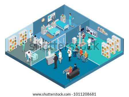 Flat isometric Medical center hospital interior vector illustration. Healthcare infographics template. 3d isometry Health care concept. Equipment, doctors, nurses, patients characters, rooms